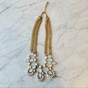 Statement Necklace - White, Gold and Iridescent